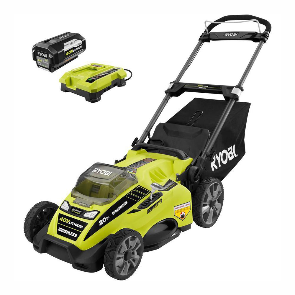 hight resolution of 20 in 40 volt brushless lithium ion cordless battery walk behind push lawn mower 5 0 ah battery charger included