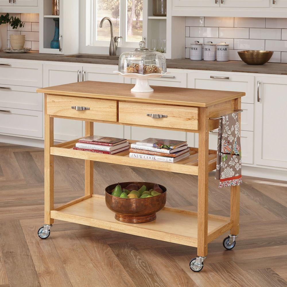 kitchen cart with drawers lace curtains home styles natural storage 5216 95 the depot