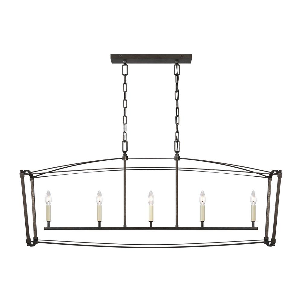 Feiss Thayer 5-Light Smith Steel Linear Chandelier-F3326