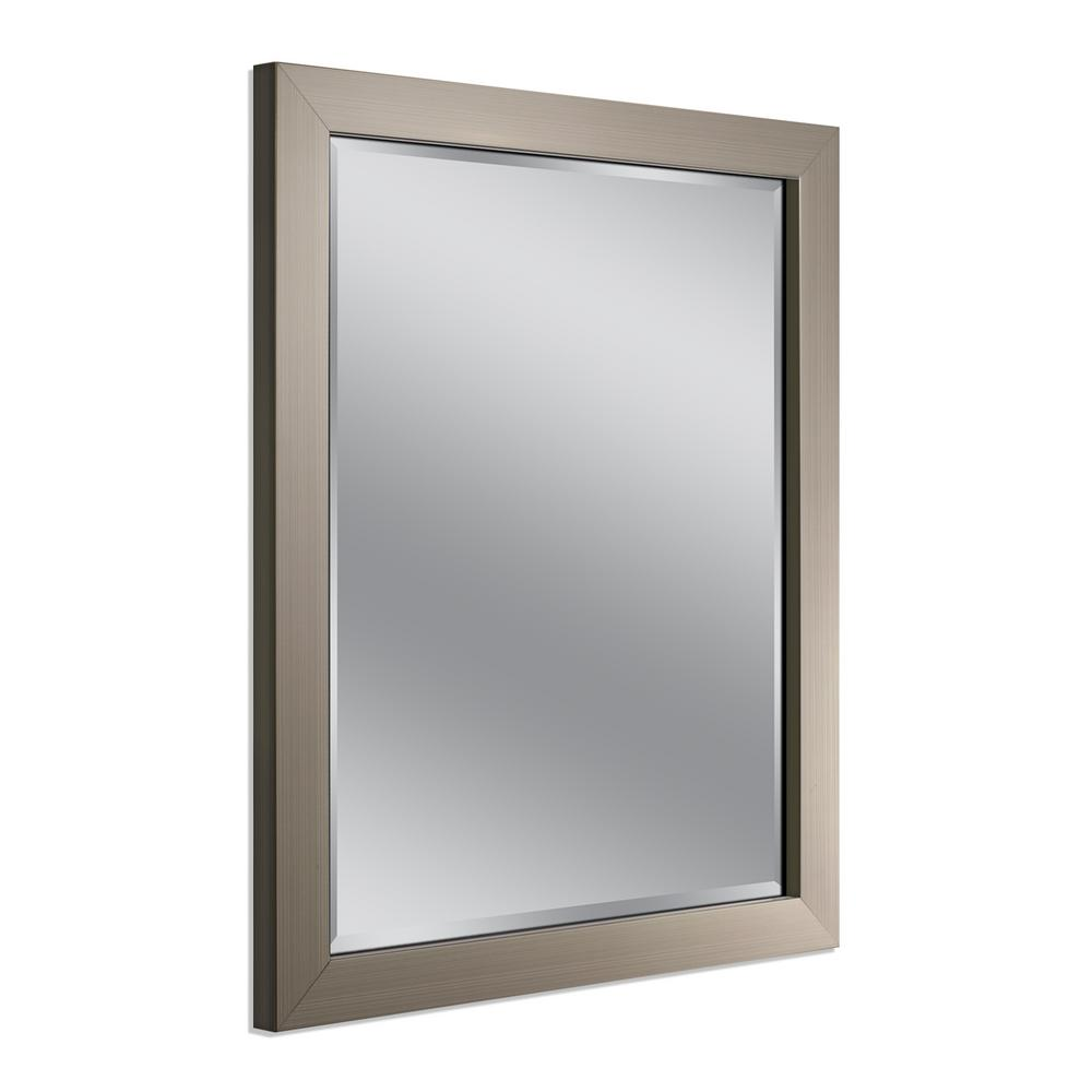 Deco Mirror Modern 26 in x 32 in Mirror in Brushed