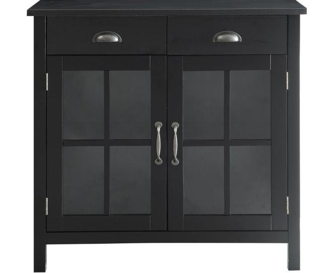 Urban Style Living Olivia Black Accent Cabinet 2 Glass Doors And 2 Drawers