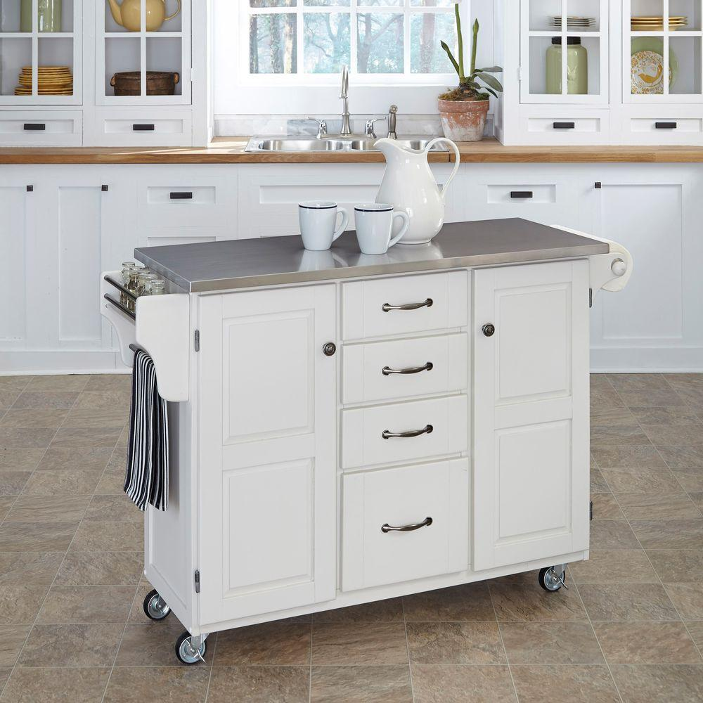 stainless kitchen cart wallpaper backsplash home styles create a white with top 9100