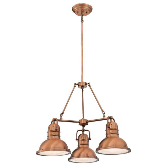 Westinghouse Boswell 3 Light Washed Copper Chandelier With Prismatic Lens