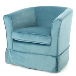 Swivel Chair Vr Linens And Covers For Weddings Noble House Cecilia Blue New Velvet With Loose Cover 298870 The Home Depot