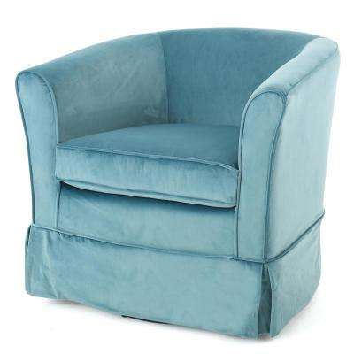 swivel chairs living room remodeling furniture the home depot cecilia blue new velvet chair with loose cover