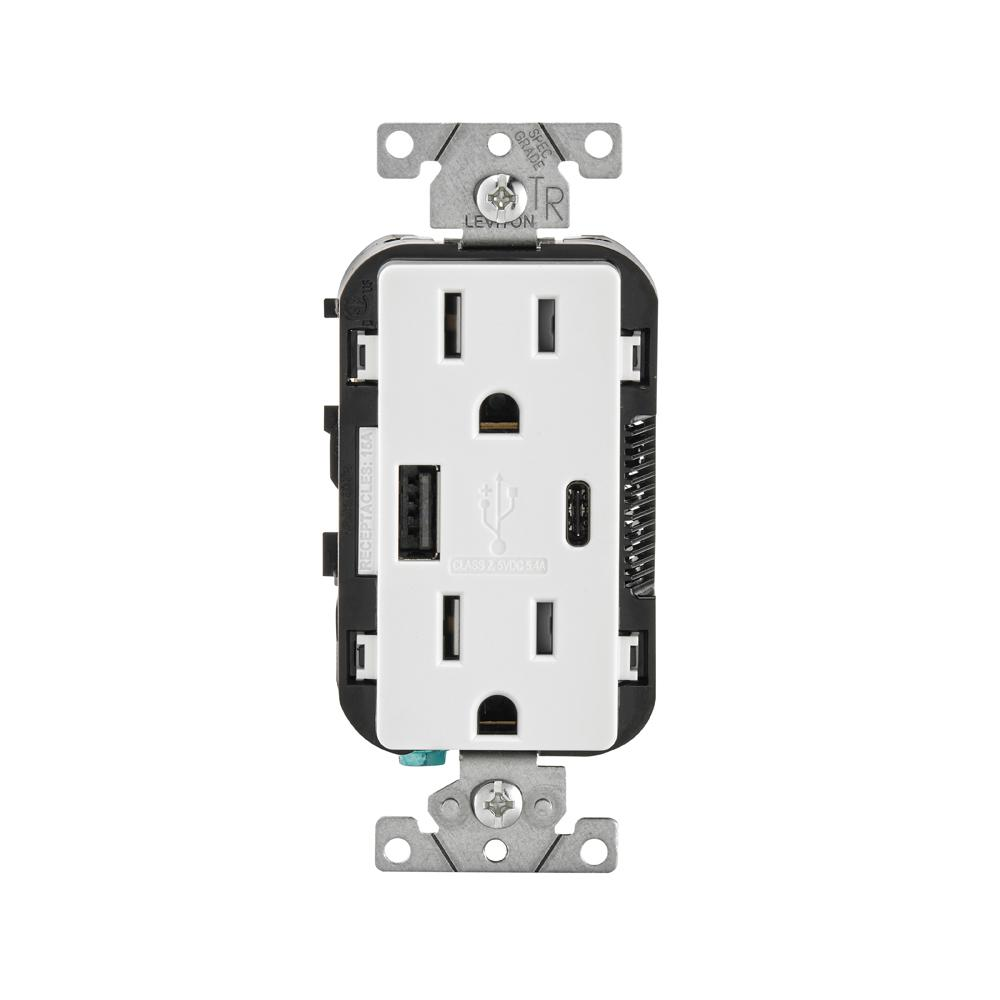 hight resolution of leviton 15 amp tamper resistant combination switch and outlet white r62 t5225 0ws the home depot
