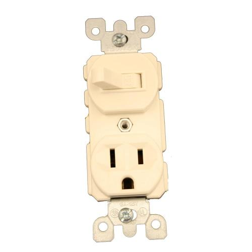 small resolution of leviton 15 amp commercial grade combination single pole toggle switch and receptacle light almond