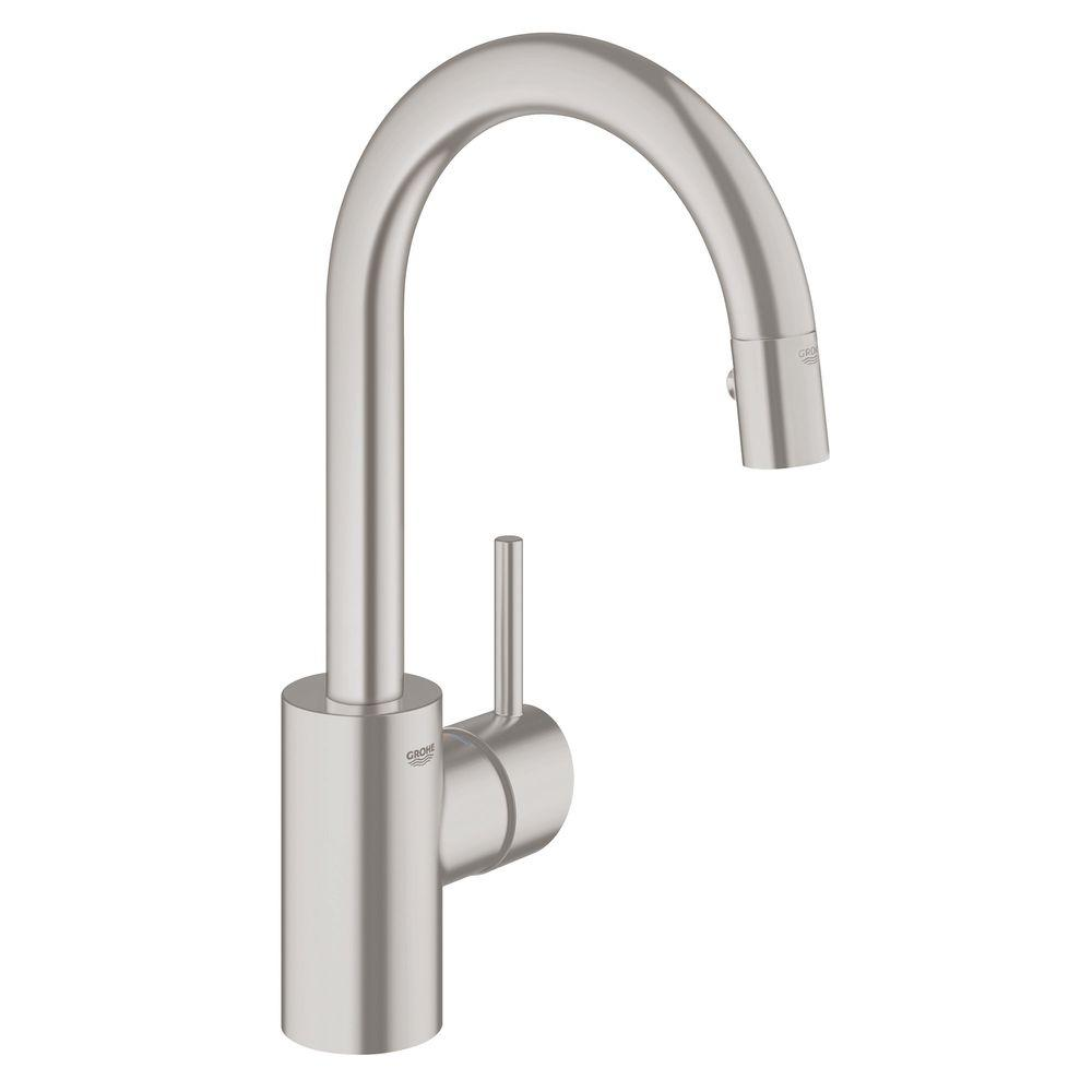 grohe concetto kitchen faucet 6 person table single handle pull down sprayer with dual spray in supersteel
