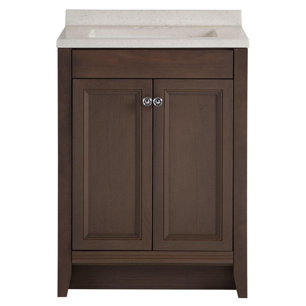 Vanities Bathroom Glacier Bay Delridge 24 In W X 19 In D Bathroom Vanity In Flagstone With Solid Surface Vanity Top In Titanium With White Sink