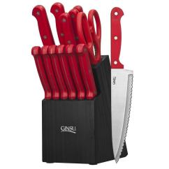 Red Kitchen Knife Set Appliances Packages Ginsu Essentials 14 Piece Ges Rd Ds 014 4 The Home Depot