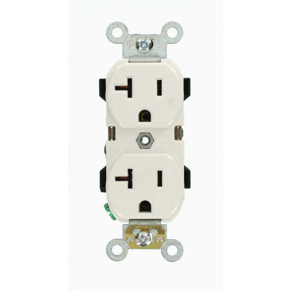hight resolution of leviton 20 amp industrial grade heavy duty self grounding duplex outlet white