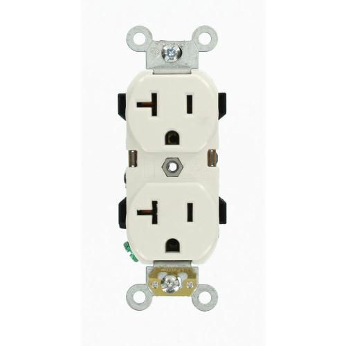 small resolution of leviton 20 amp industrial grade heavy duty self grounding duplex outlet white
