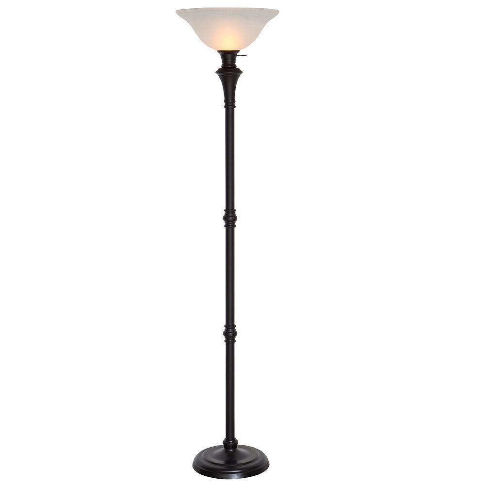 Hampton Bay 7275 in Bronze Floor Lamp with White
