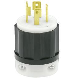 leviton 30 amp 250 volt 3 phase locking grounding plug black white [ 1000 x 1000 Pixel ]