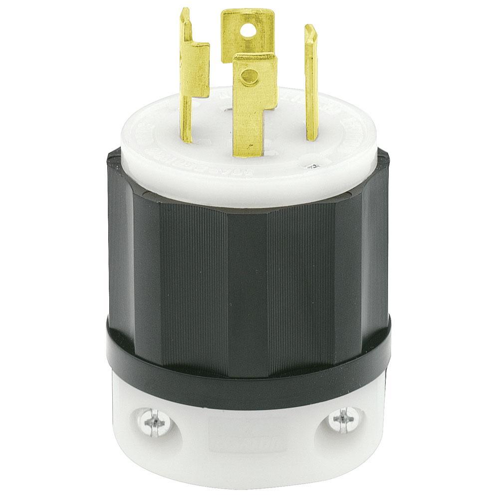 medium resolution of leviton 30 amp 250 volt 3 phase locking grounding plug black white