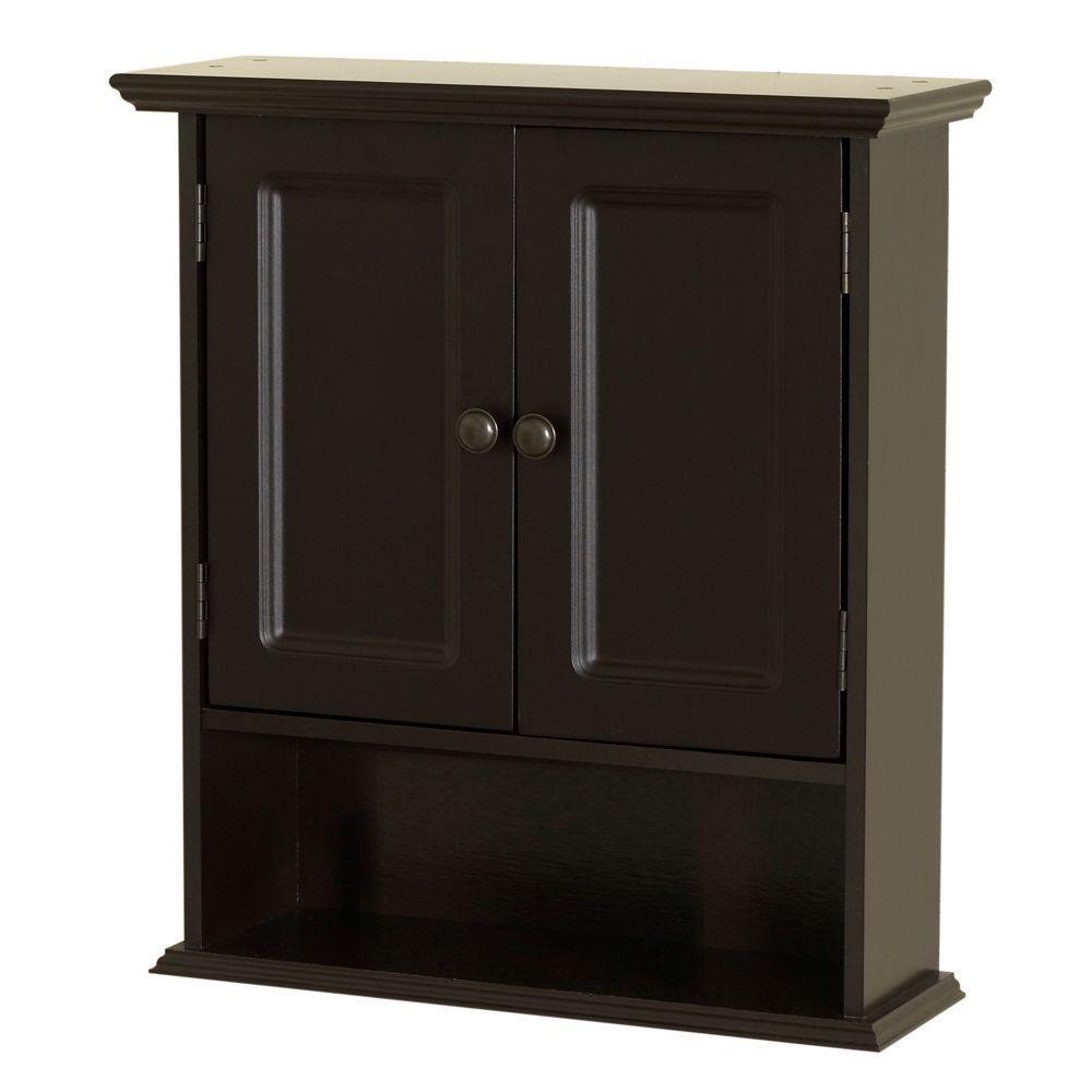 Zenna Home Collette 2112 in W x 24 in H x 7 in D Bathroom Storage Wall Cabinet in Espresso