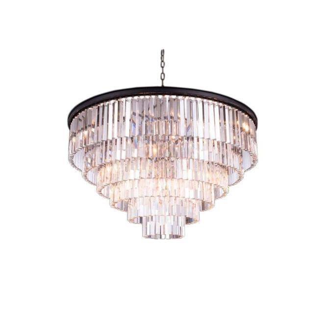 Elegant Lighting Sydney 33 Light Mocha Brown Chandelier With Clear Crystal