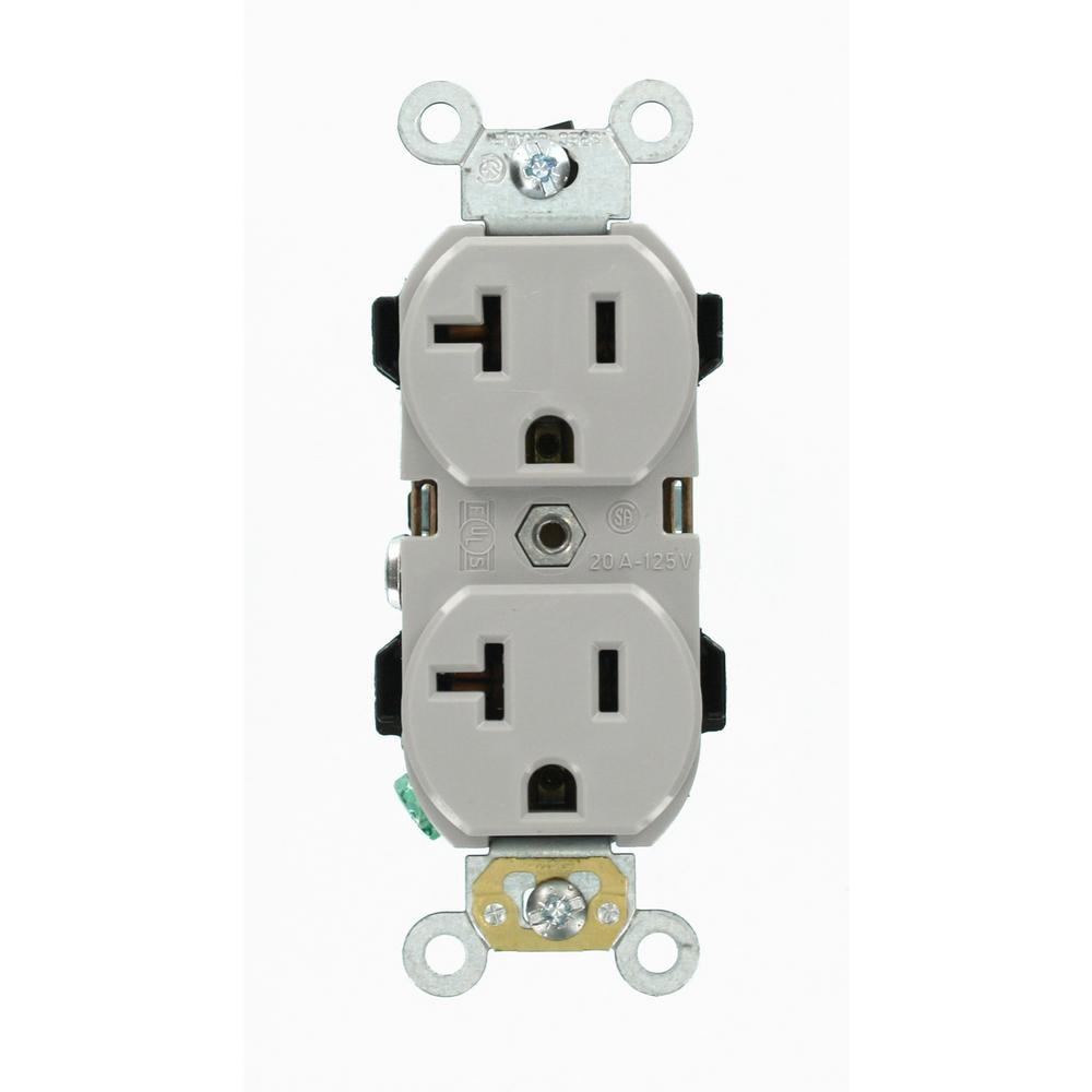 hight resolution of leviton 20 amp industrial grade heavy duty self grounding duplex outlet gray