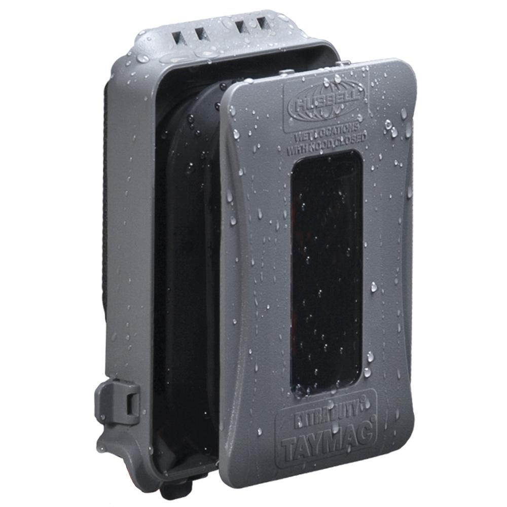 Greenfield WhileInUse Weatherproof Electrical Outlet Cover Horizontal  GrayWIUHPS  The Home Depot