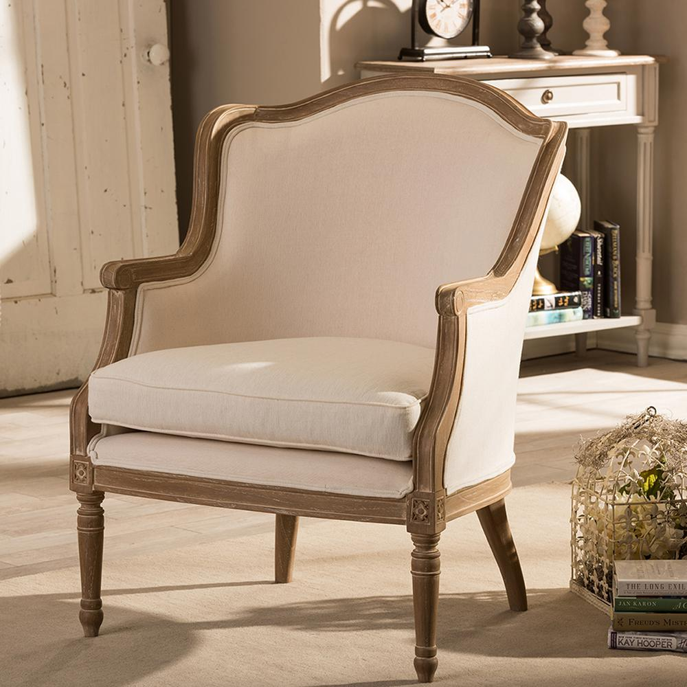 brown accent chairs chair cover ideas for party baxton studio charlemagne beige and dark fabric upholstered