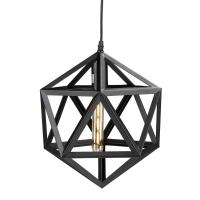 Perdue 1 Light Matte Black Geometric Cage Pendant Lamp
