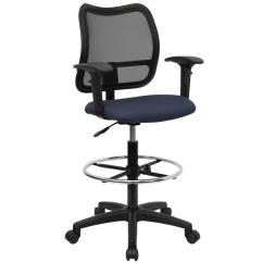 Drafting Chairs With Arms The Chronicles Of Narnia Silver Chair Flash Furniture Mid Back Mesh Navy Blue Fabric Seat And Height Adjustable