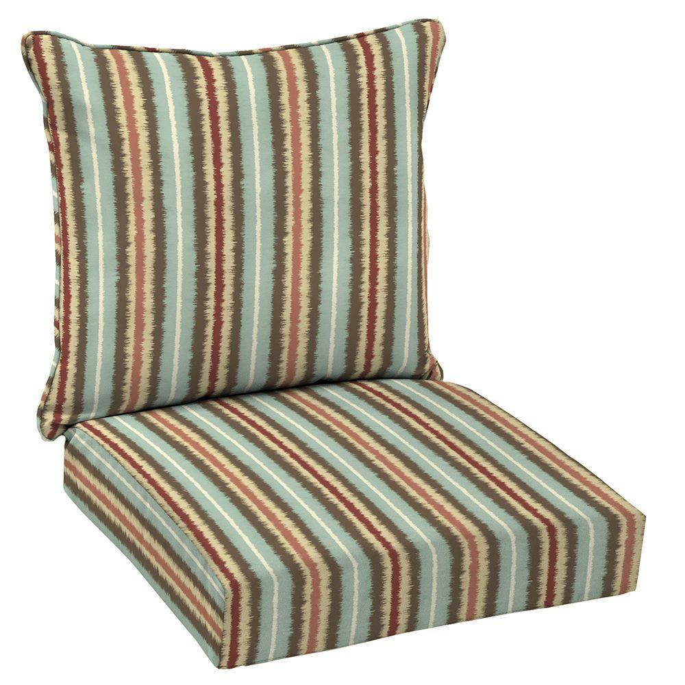 chair cushions outdoor large round living room chairs hampton bay 24 x lounge cushion in standard elaine ikat stripe
