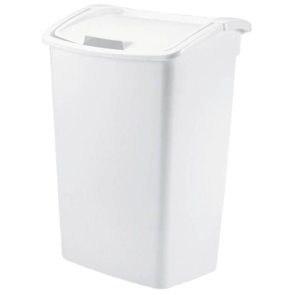 tall kitchen trash cans ice maker rubbermaid 11.25 gal. white can-fg280300wht - the ...