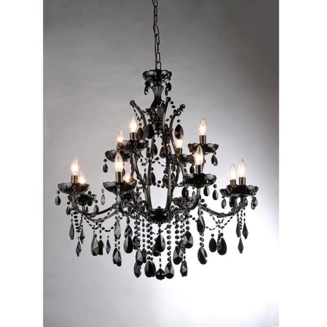 Warehouse Of Tiffany Russhelle 12 Light Black Metal Chandelier