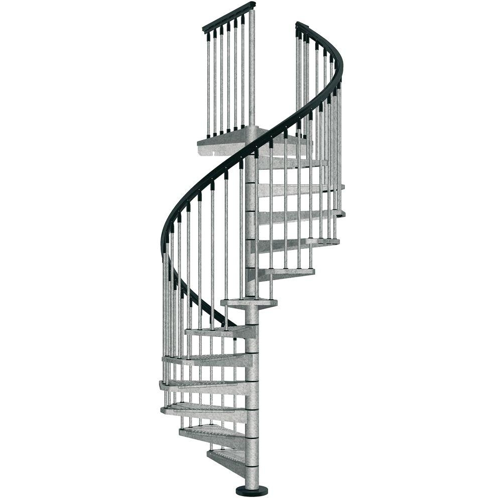 Arke Enduro 47 In Galvanized Steel Spiral Staircase Kit K05001   Outdoor Spiral Staircase Installation   Simple   3 Floor   Outdoor   Backyard   Roof Deck