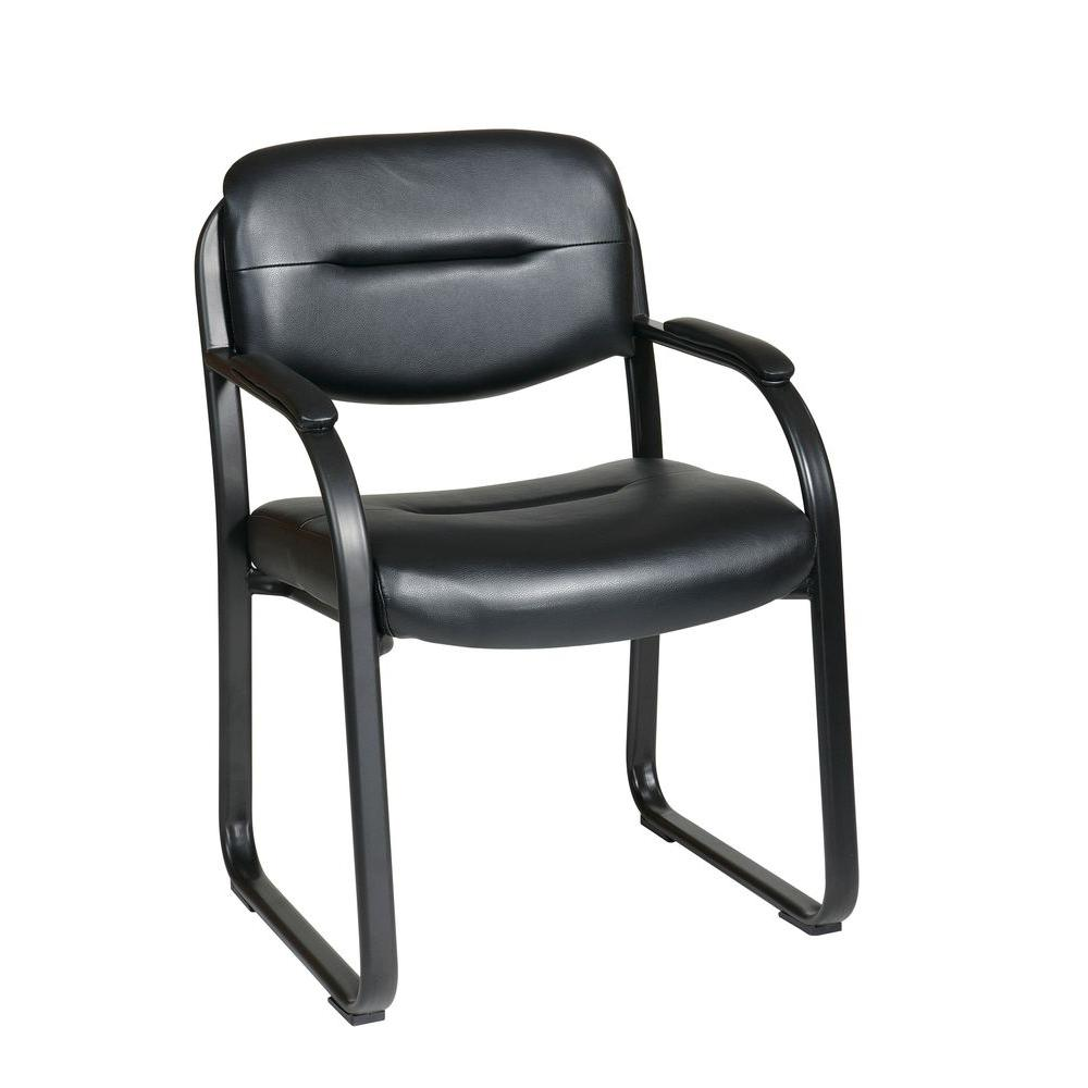 leather chair office small upholstered swivel tub work smart black faux visitor fl1055 u6 the home depot