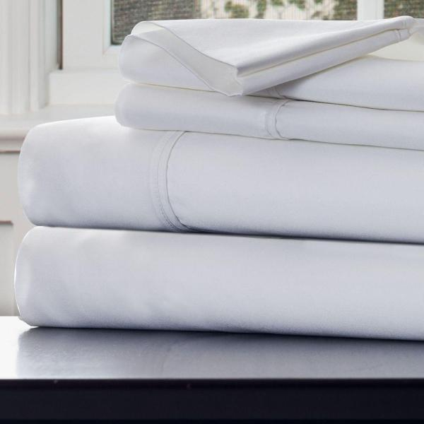 Lavish Home 4-piece White 1000 Count Cotton Sateen King Sheet Set-66-k0016- - Depot