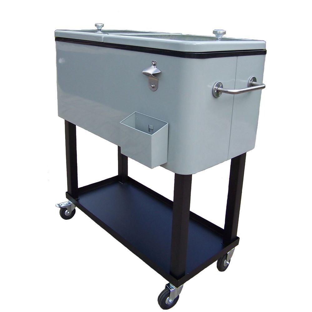 Oakland Living 80 Qt Steel Metallic Silver Patio Cooler