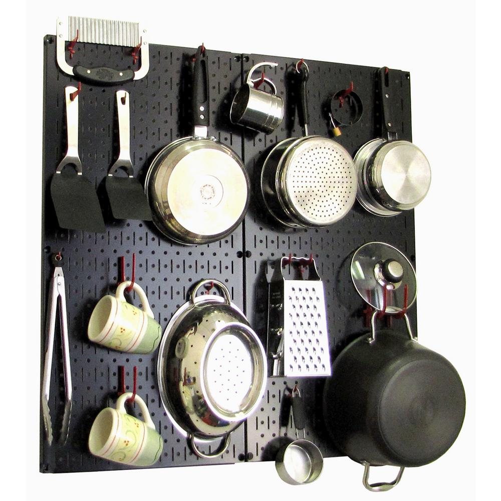 kitchen pegboard swivel aerator for faucet wall control 32 in x metal peg board pantry organizer