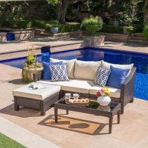 Noble House Multi-brown 5-piece Wicker Outdoor Sectional