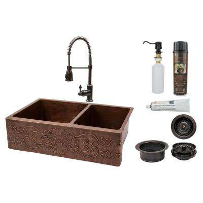 oil rubbed bronze kitchen sink best way to refinish cabinets sinks the home depot all in one scroll dual mount hammered copper 33 60 40