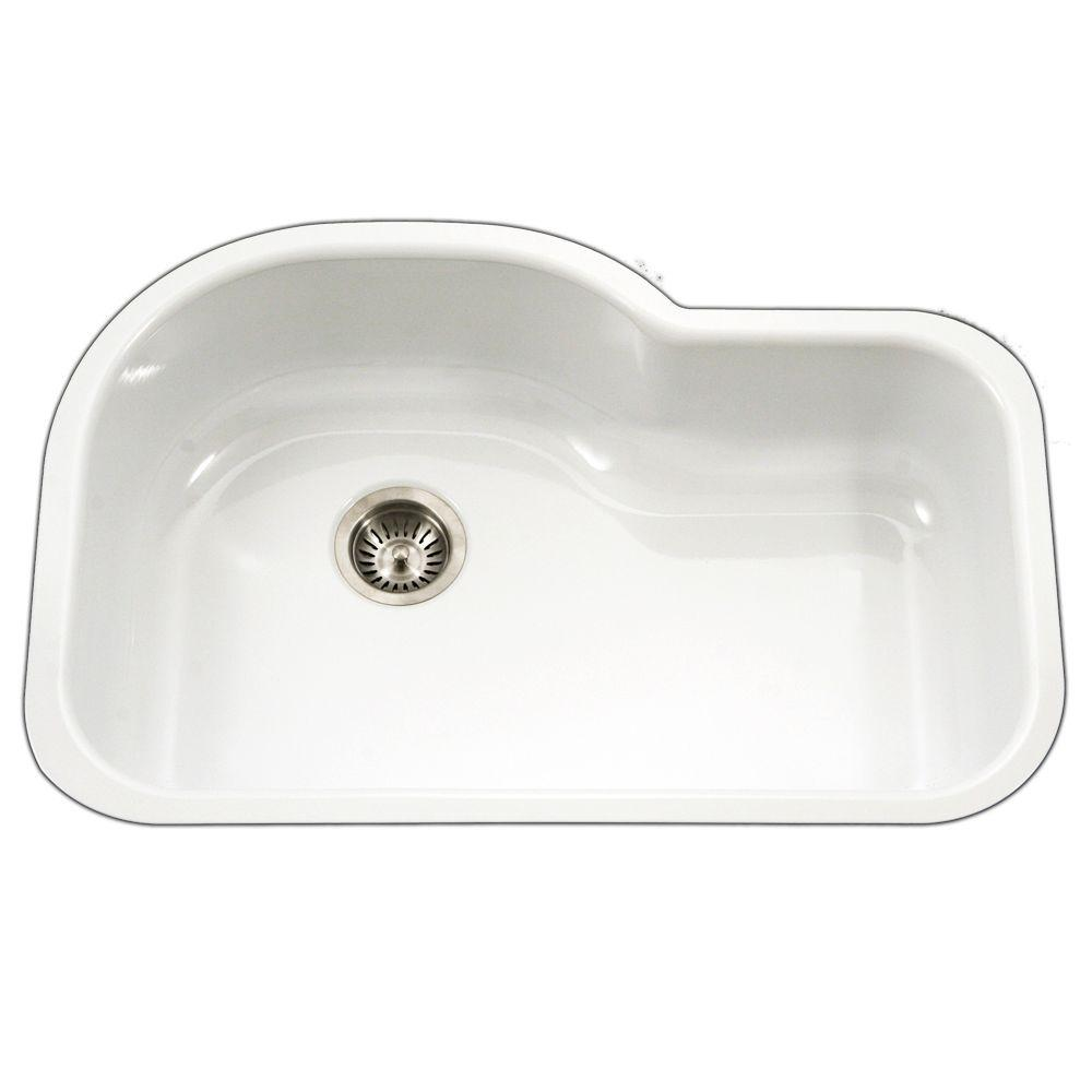 white porcelain kitchen sink cabinet outlet ct enameled steel sinks the home depot porcela series undermount enamel 31 in offset single bowl