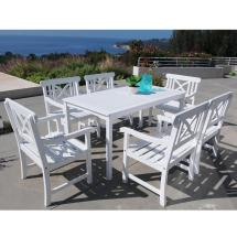 Vifah Bradley Acacia White 7-piece Patio Dining Set With