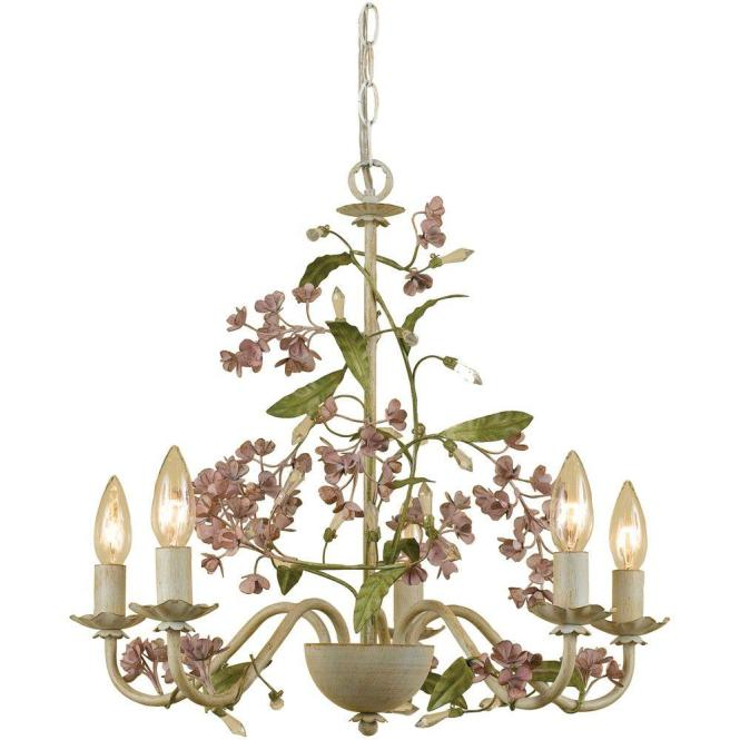 Af Lighting Grace 5 Light Antique Cream Chandelier With Fl Accents
