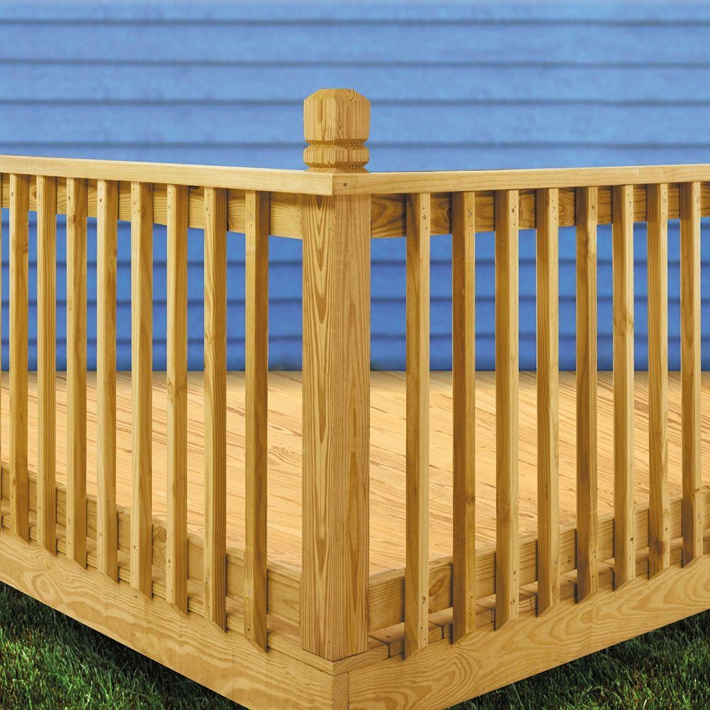 Weathershield 42 In X 2 In Pressure Treated Beveled 1 End | Home Depot Deck Handrail | Stairs | Face Mount | Aluminum Balusters | Cable Railing Kit | Southern Yellow Pine