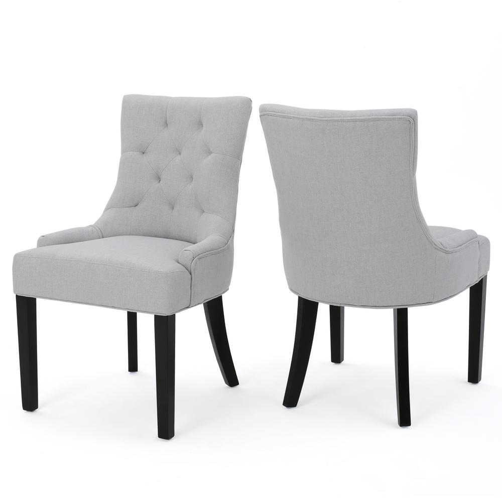 dining chairs fabric chair swing vienna noble house hayden light grey set of 2 299538