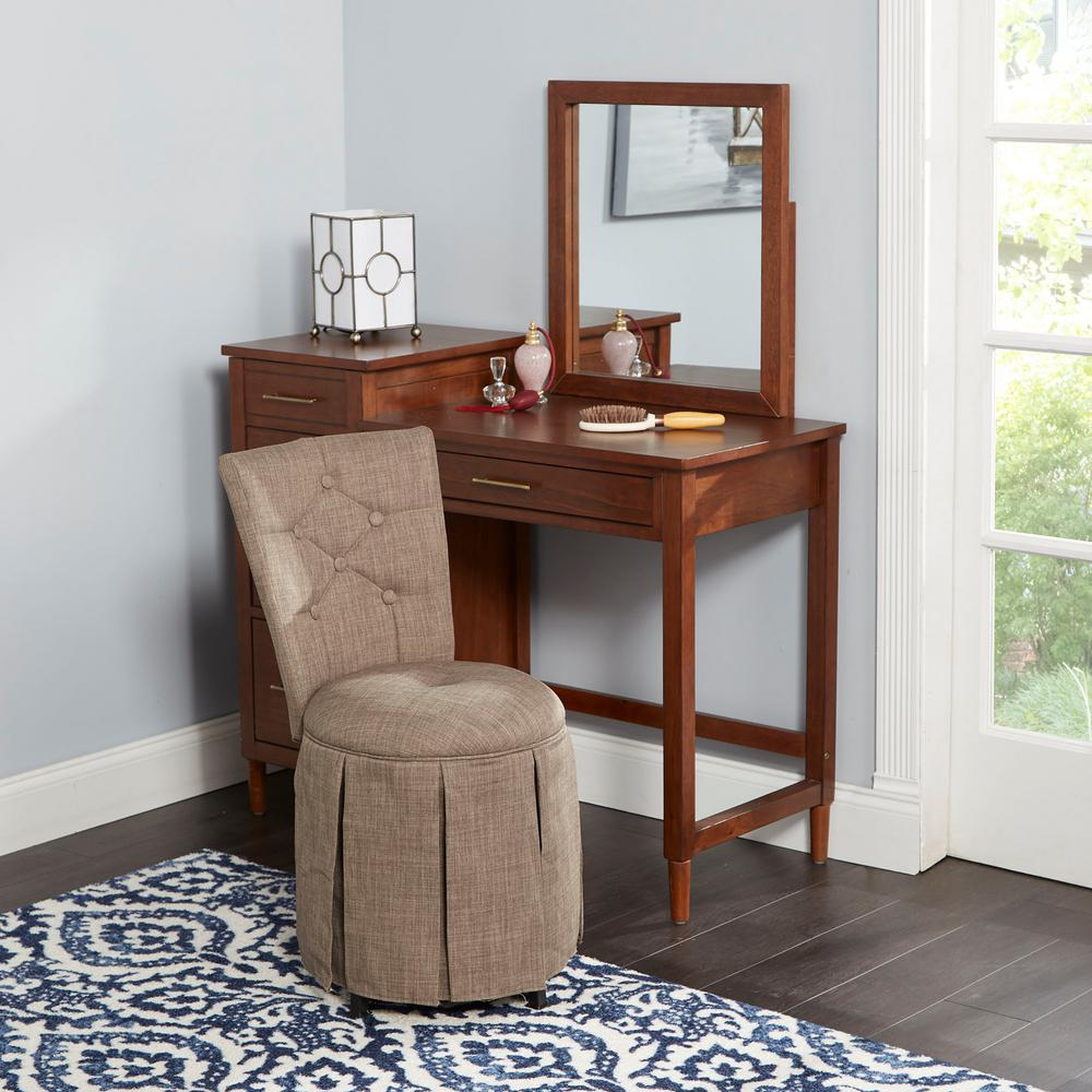 Tufted Vanity Chair Smith Brown Skirted Swivel Vanity Chair With Diamond Tufted Back