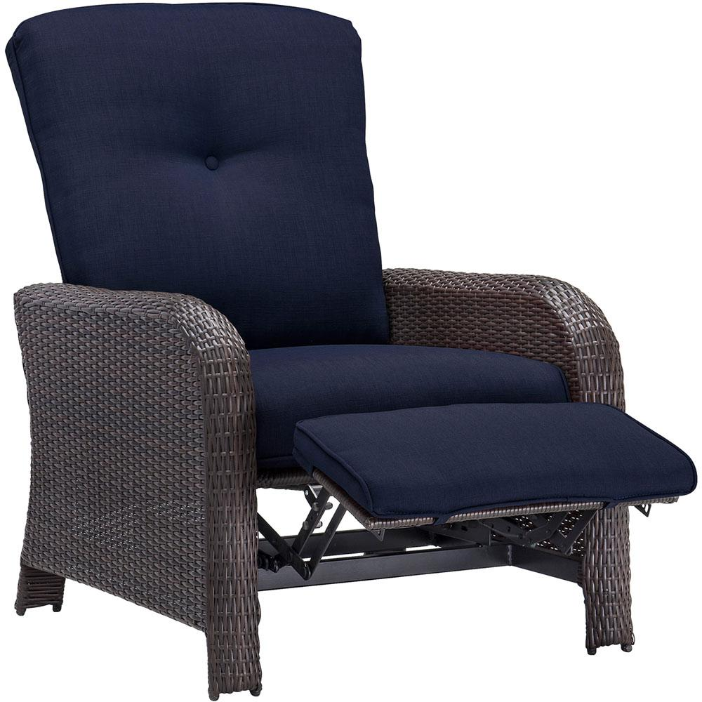 Cool Lounge Chairs Cambridge Corolla 1 Piece Wicker Outdoor Reclinging Patio Lounge Chair With Navy Cushions