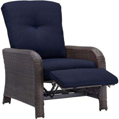 lounge chair outside black with ottoman tufted patio chairs furniture the home depot corolla 1 piece wicker outdoor reclinging navy cushions
