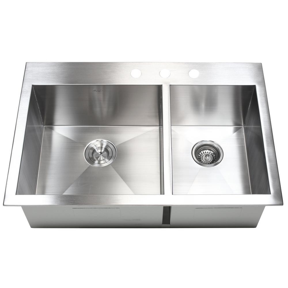 square kitchen sink small high top table zero radius corners sinks topmount drop in 16 gauge 33 x 22 10