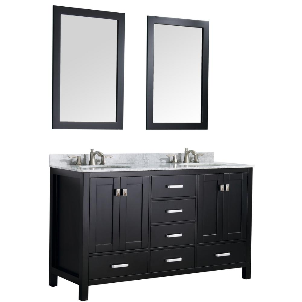 High End Bathroom Vanities Anzzi Chateau 60 In W X 36 In H Bath Vanity In Black With Marble Vanity Top In Carrara White With White Basins And Mirrors