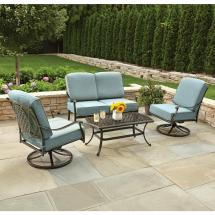 Hampton Bay Belcourt 4-piece Metal Patio Conversation Set