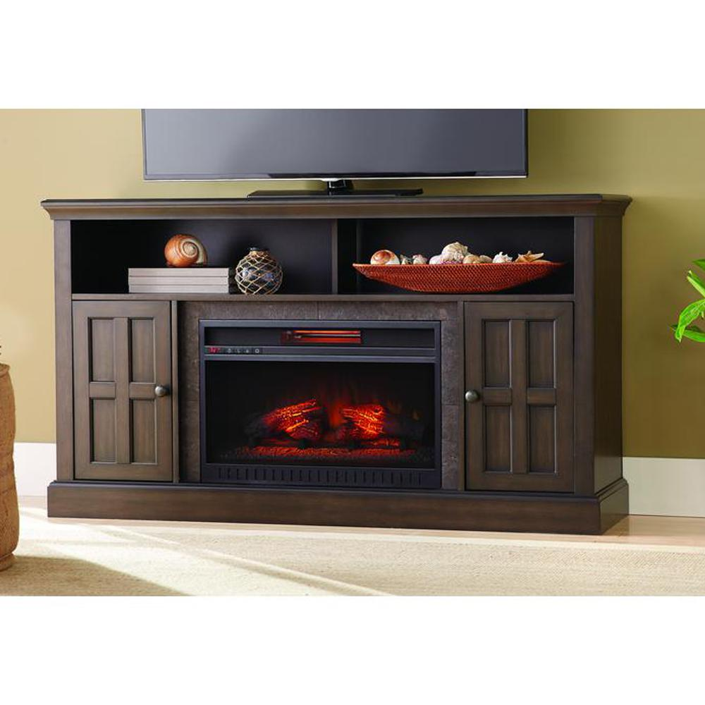 Home Decorators Collection Elmhurst 60 in Media Console Infrared Electric Fireplace in Brown