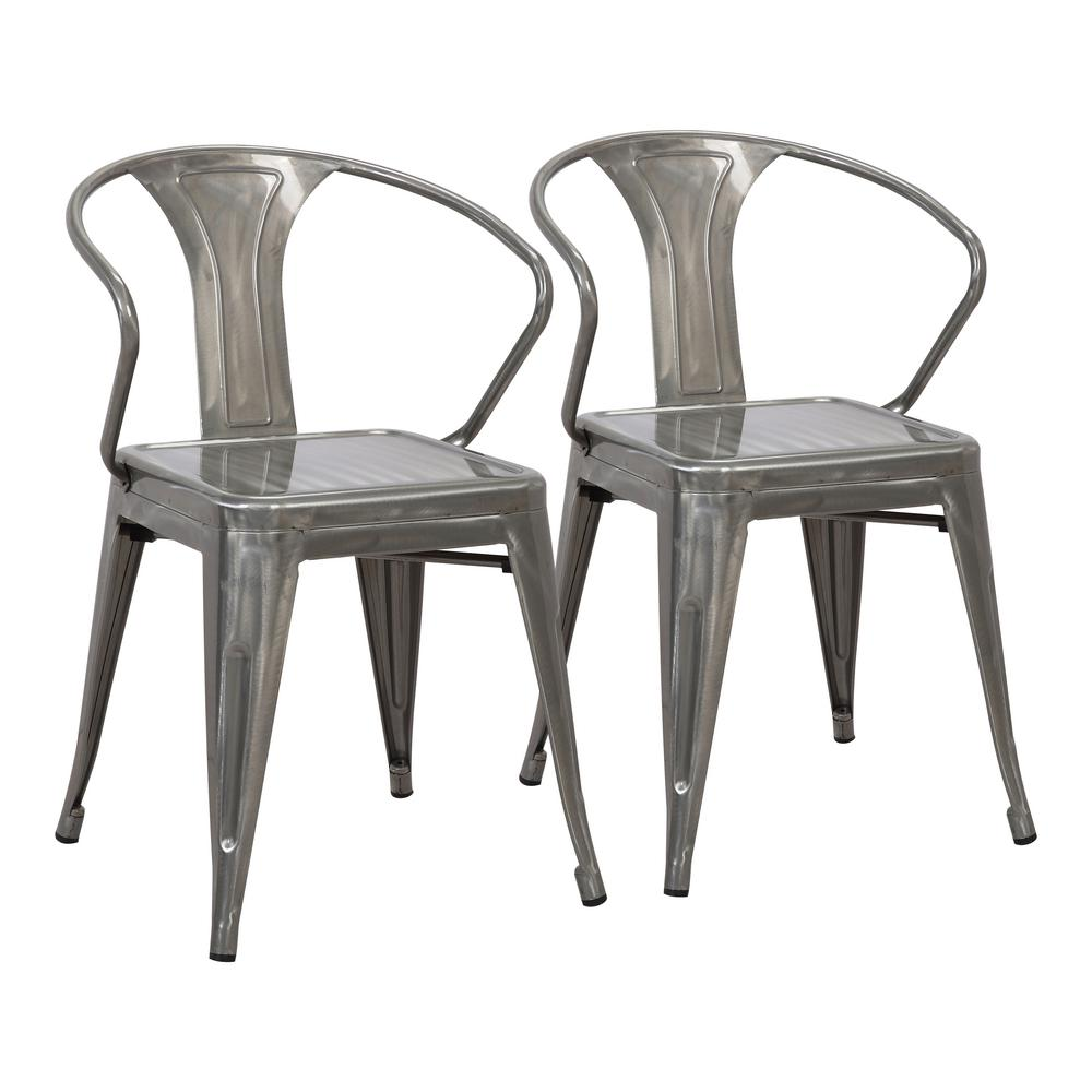 silver metal dining chairs puppy dog chair lumisource waco set of 2 dc wco sv2