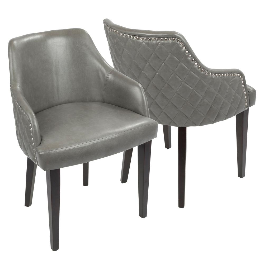 leather dining chairs wedding chair covers hire doncaster lumisource esteban grey faux with chrome studded trim set of 2 dc estbn e gy2 the home depot